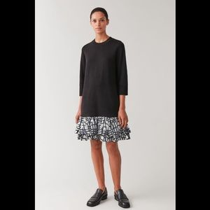 COS Knitted Dress With Woven Pleats in Black M